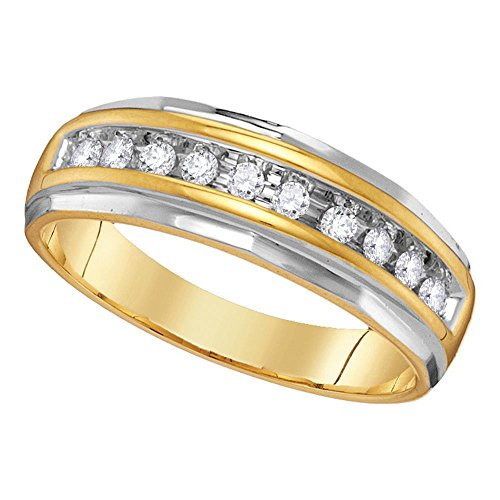 (Jewels By Lux 14kt Two-Tone Yellow Gold Mens Round Diamond Single Row Grooved Wedding Band Ring 1/4 Cttw Ring Size 9)