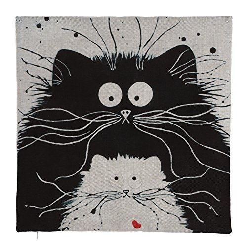 Easydeal Cartoon Black Cat Printed Cotton Linen Decorative Throw Pillow Cover Car Sofa Cushion Case, 18''X 18'' (4#)