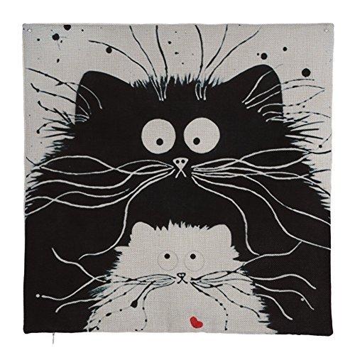 Easydeal Cartoon Black Cat Printed Cotton Linen Decorative Throw Pillow Cover Car Sofa Cushion Case, 18''X 18'' (4#)