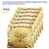 Facial Tissue Mask - Rotus 6PCS 24K Gold Gel Collagen Crystal Facial Masks Sheet Patch For Anti Aging, Whitening, Puffiness, Anti Wrinkle, Moisturizing, Deep Tissue Rejuvenation and Hydrates Skin