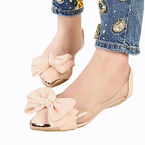 Kjære Tid Gjennomsiktige Store Chiffon Blomst Kvinner Flats Spiss Tå Rosa