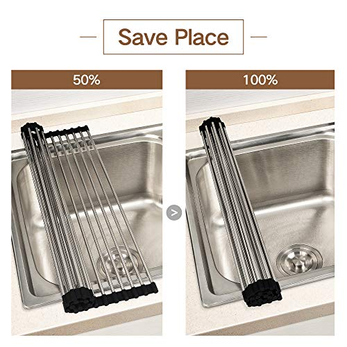 JOMOLA Roll-up Dish Drying Rack Stainless Steel Fold-able Over Sink Mat  Heat Resistant Kitchen Roll up Dish Drainer With Black Non-slip Silicone  Grips