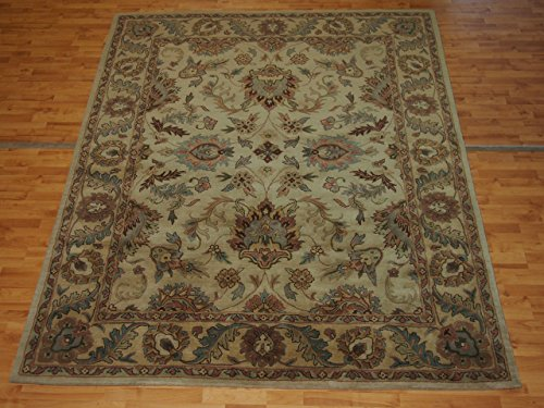 7'6'' X 9'6'' Overall Decorative Persian Kashan Golden Rectangular Wool (Gold Medallion Kashan Rug)
