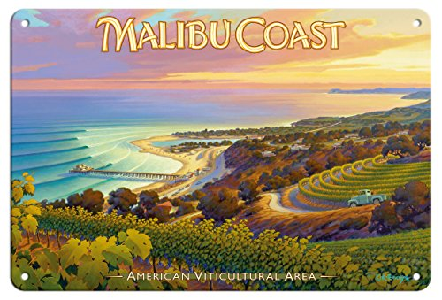 Pacifica Island Art 8in x 12in Tin Sign - Malibu Coast Wineries - Santa Monica Mountains by Kerne Erickson
