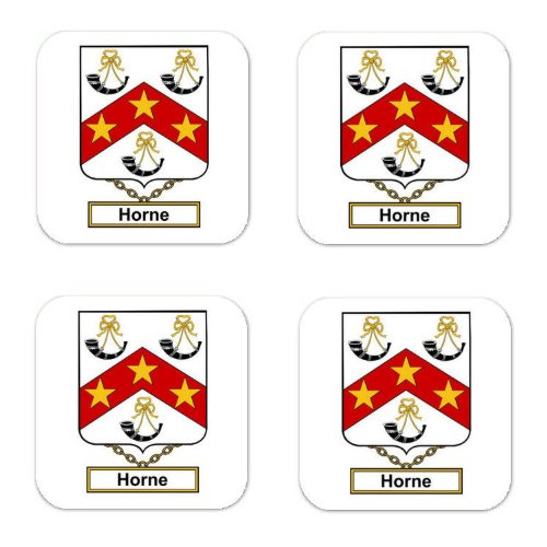 - Horne Family Crest Square Coasters Coat of Arms Coasters - Set of 4