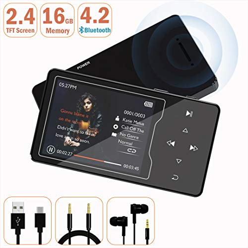 MP3 Player – HonTaseng Bluetooth 4.2 HiFi Sound 16GB Music Player, 2.4 Inch Large TFT Screen with Build-in Speaker, and Support 128GB TF Card with FM Radio and Voice Recorder -Black