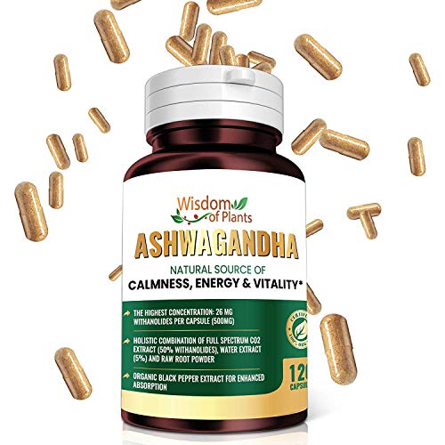 Organic Ashwagandha Extract – Full-Spectrum CO2 Ashwagandha Root Extract (50% Withanolides), Ashawanda Capsules Organic, Anxiety Relief Supplements with Black Pepper Extract, 120 Veggie Capsules