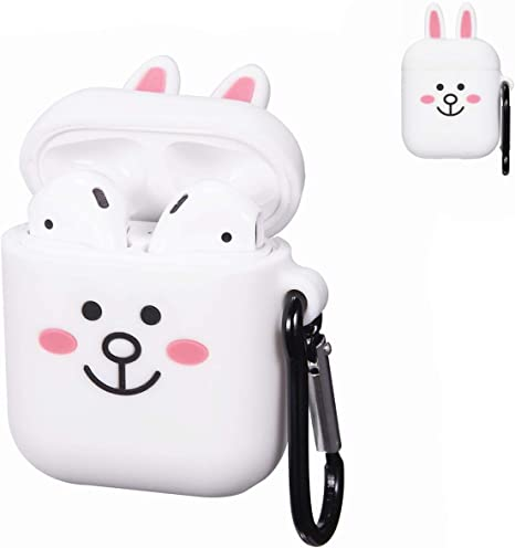 Amazon Com Punswan Cony Rabbit White Airpod Case For Airpods 1 2