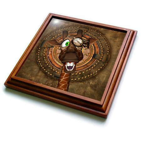 3dRose trv_269618_1 Funny Steampunk Giraffe with Clock Trivet with Tile, 8'' x 8''