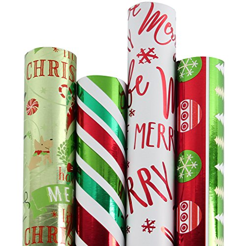 RUSPEPA Christmas Gift Wrapping Paper-Red and Green Theme Paper-4 Roll-30Inch X 10Feet Per Roll ()