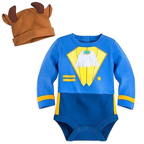 Disney Store Beauty & the Beast Baby Costume Bodysuit Boys Outfit & Hat Set Size 9 - 12 Months -
