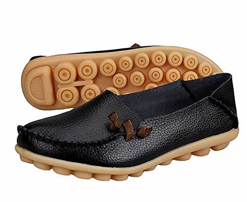 Scarpe Mocassini, Mocassini Da Donna In Vera Pelle Mocassino Casual Scarpe Da Guida Piatte Slip-on Pantofole Nere