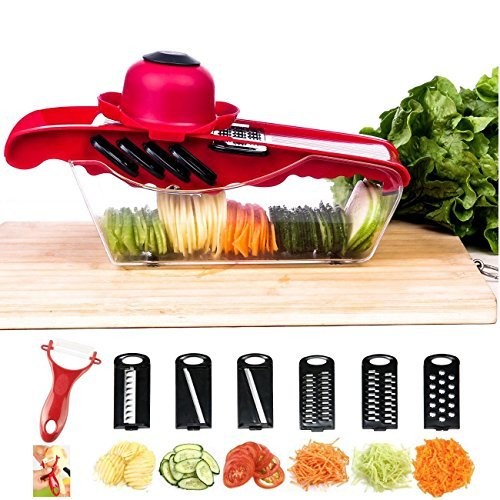 Mandoline Vegetable Slicer Cutter Chopper,JungleArrow 6 in 1 Interchangeable Blades with Peeler with Food Catch Tray