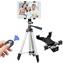 """Tripod with Tablet Mount&Bluetooth Remote, Peyou® 42"""" Inch Aluminum Camera Tripod + Universal Tablet Holder Mount (Fits for Tablet Width Between 4.9"""" - 7.6"""")+ Bluetooth Wireless Remote Control Shutter for Apple iPad Pro 9.7'', iPad 2/3/4, iPad Air/Air 2, iPad Mini 2/3/4"""