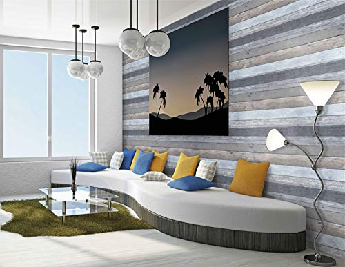 197''x17.7''Wallpaper Wood Contact Paper Peel and Stick Wallpaper Removable Gray Wall Paper Wall Covering Wood Grain Wallpaper Self Adhesive Wood Plank Shiplap Vinyl Texture Film Vintage Shelf Liner