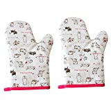 Set of 2 Kitchen Tool Oven Mitts Oven Gloves Potholders White Cat