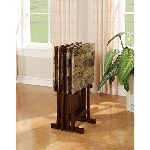Linon Tray Table Set Faux Marble - Brown - 5 Piece - 5 Piece Marble Faux
