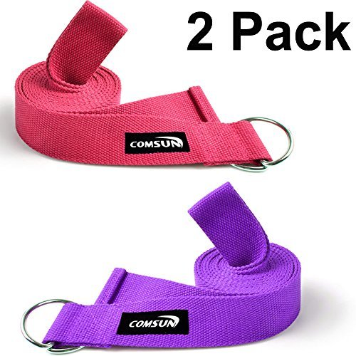 Comsun Yoga Strap 8 Feet Length Yoga Mat Belt Stretching for Holding Poses 100% Cotton