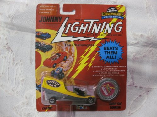 Johnny Lightning Commemorative Limited Edition The Challengers! In A Yellow Moving Van Roadster 1:64 Scale Diecast With Red Line Tires & A Collector's Coin (Tonka Van)