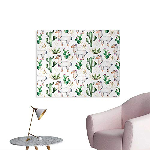 Tudouhoho Cactus Poster Paper Hot South Desert Plant Cactus Pattern with Camel Animal Modern Colored Image Print Wall Sticker Decals Multicolor W36 xL24