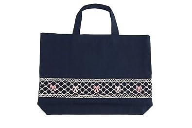 e0c8548a0e453  手刺繍スモッキング  リボン柄ピンクB 紺色布製:レッスンバッグ