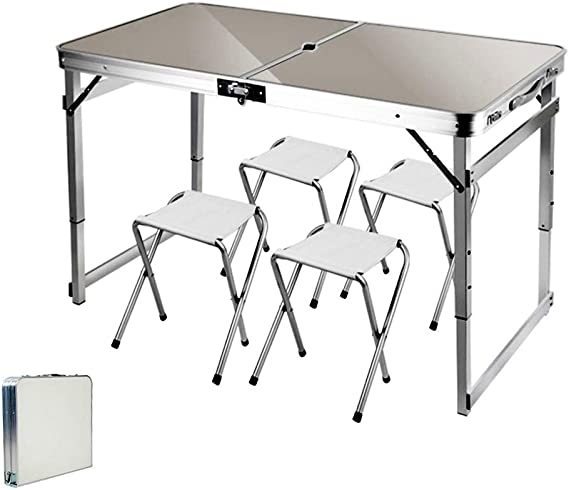 ARG Mesa plegable portátil ajustable al aire libre y sillas, con agujero para sombrilla, para camping, picnic, fiesta, barbacoa, trabajo deberes ...