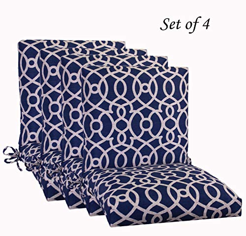 "Comfort Classics Inc. Set of 4 Outdoor Patio Dining Chair Cushion, Fretwork 20""x 44""x 3 in Polyester Blue Pattern"