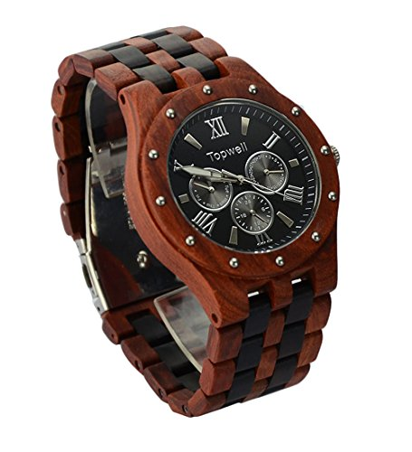 Topwell-Mens-Date-Time-Week-24-Hours-Wood-Wooden-Watches-Round-QUARTZ-Wood-Watch-Gift-Watches