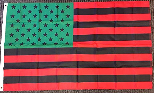 3x5 Afro American USA Flag African American Black Lives Matter Banner Red Green Vivid Color and UV Fade Resistant Canvas Header and Double Stitched polyester materia