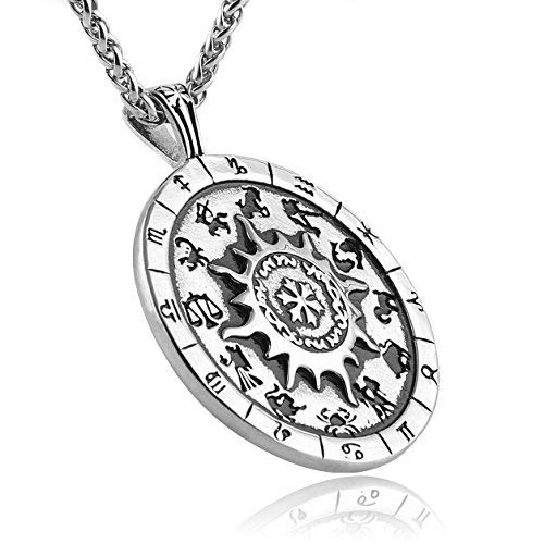 HZMAN 12 Zodiac Signs Constellation Astrology Horoscope Stainless Steel Pendant Necklace Astrology for Beginners Silver