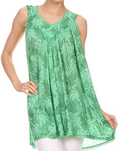 Sakkas 16522 - Nadiyah Long Scoop Neck Embroidered Tank Top Sleeveless Blouse Shirt Top - Sea Green - - Embroidered Top Sea Green