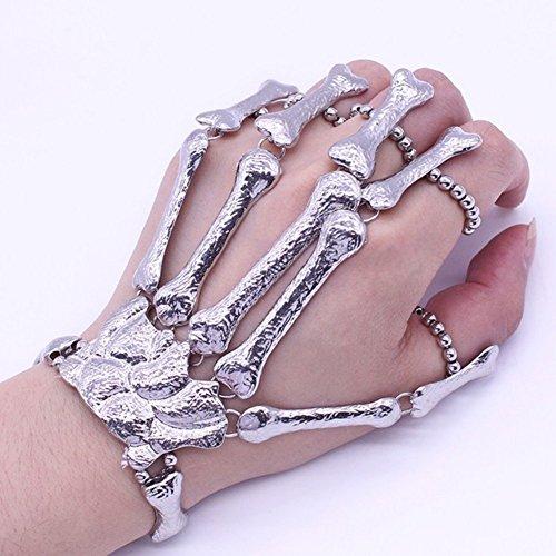Totoo Skull Fingers Metal Skeleton Bracelet Ring Hip Hop Street Dancing Cosplay Wristband -