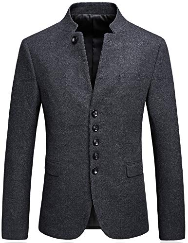 Mandarin Collar Blazer Jacket for Men Smart Casual Wool Tweed Sports Jackets Buttons Tag Size 180/50 Light Gray