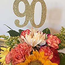 90th Birthday Decorations Age 90 Centerpiece Picks Glitter Number On A