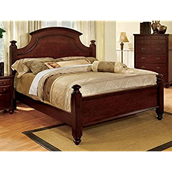 Amazon Com Furniture Of America Ansel Cherry Sleigh Bed Queen