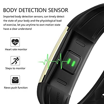 DENISY Fitness Tracker, Wireless Activity Trackers Smart Bracelet with Heart Rate Monitors for iOS Android Activity Watch Wristband.