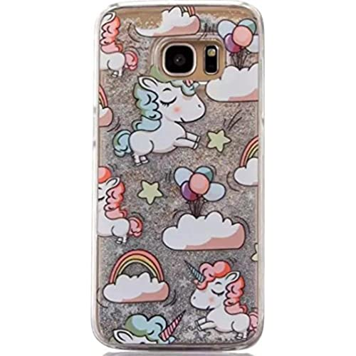 Galaxy S7 Edge Luck Curly Hair Unicorn Sand Summer Case, OMORRO New Attractive Curly Horse Shiny Flowing Floating QuickSand Sand Dynamic Sales