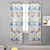 BGment Rod Pocket Kids Room Sheer Animal Zoo Cute Printed Window Drapes for Bedroom,1Pair (52'' Wx84,Zoo Voile)
