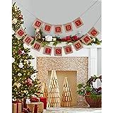 Pixnor Merry Christmas Burlap Banner,Vintage Christmas Banner Christmas Burlap Banner for Christmas Decor