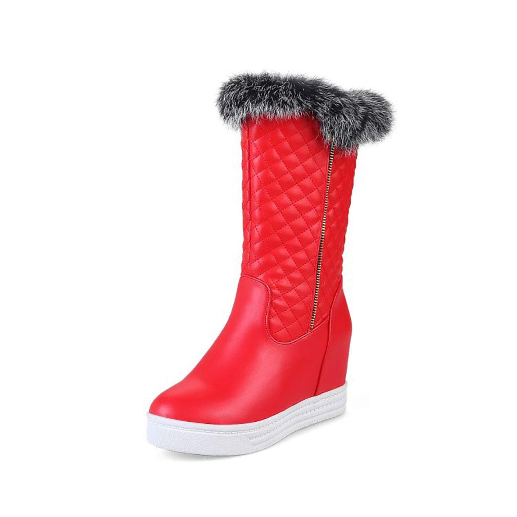 Hy Frauen Stiefel künstliche PU Winter Warm Winddicht Schnee Stiefel Stiefel/Student Mittel-Kalb Stiefel/Damen Winter Stiefel Erhöhen Casual Ski Schuhe (Farbe : Rot, Größe : 34)