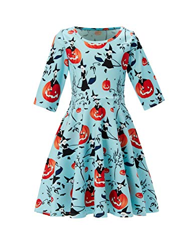 UNIFACO Teen Girls Halloween Jack-o-Lantern Witch Print Dress Up Halloween Costume 10-13T -