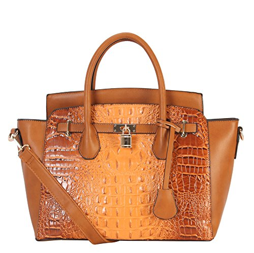 Diophy PU Leather Large Solid Crocodile Pattern Front Lock Trapeze Tote CY-6474 ()