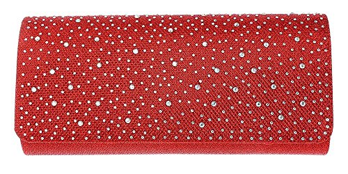 Evening Purse Women Wedding Glitter Bag Shoulder Prom Red Hotstylezone Satin Bridal Diamante Clutch ExnU550OPW