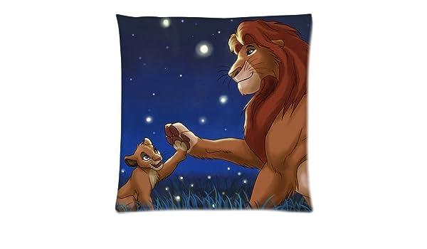 artoutletmf 3641 el rey León Mufasa Simba Lino y Algodón Cuadrado Manta Decorativa Funda de almohada cojín 18 x 18: Amazon.es: Hogar