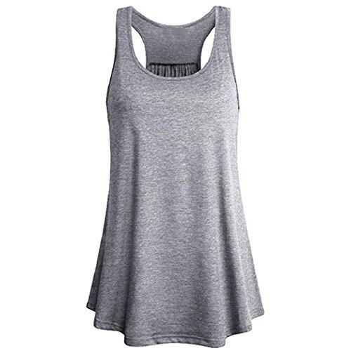 Striped Burnout Tops (ShenPr Women's Flowy Burnout Active Yoga Workout Racerback Tank Tank Top (Gray, L))
