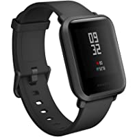 Amazfit Bip Smartwatch by Huami with All-Day Heart Rate and Activity Tracking, Sleep Monitoring, GPS, Ultra-Long Battery Life, Bluetooth, US Service and (A1608 Black)