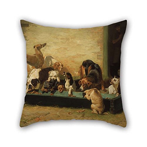 Oil Painting John Charles Dollman - Table D'Hote At A Dogs' Home Throw Cushion Covers 20 X 20 Inches / 50 By 50 Cm Gift Or Decor For Boys Festival Dinning Room Car Birthday Bench - Each Side
