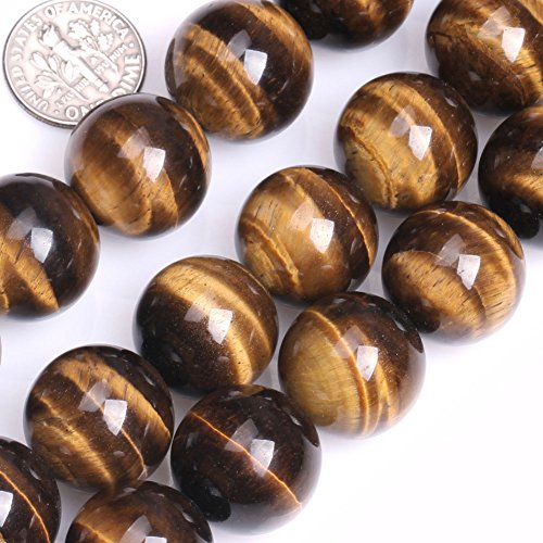 (GEM-inside 18mm Natural Tiger Eye Gemstone Loose Beads Huge Round Power Stone Beads for Jewelry Making Jewelry Beading Supplies for Women)