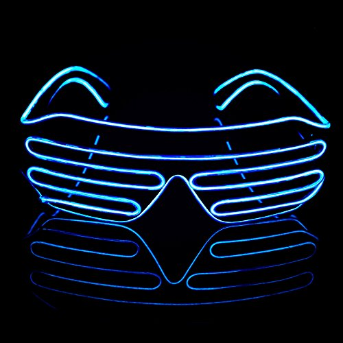 Halloween Light Up Mask Glasses LED Shutter EL Wire Decor Sound Activated for Party Bar Multi Colors