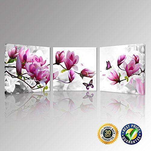 Kreative Arts - Magnolia Blossom Time Stretched Canvas Prints Beautiful Flowers Picture Art Prints Romantic Flora Giclee Art Work fpr Modern Home Decoration Wall Painting Set of 3 Ready to Hang (16' Square Box Flower)